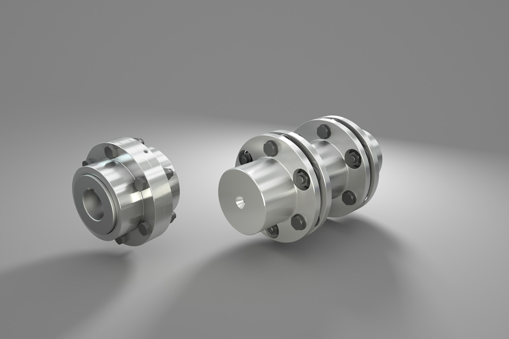Couplings from R+L Hydraulics with ATEX certification: gear coupling <i>(left)</i> and disc coupling <i>(right)</i>