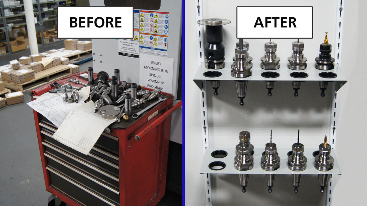 Before and after using CNC tool shelves