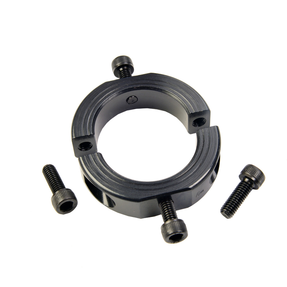 Mountable shaft collar in black oxide steel, designed to mount to other shaft collars or adjacent components such as sensors.