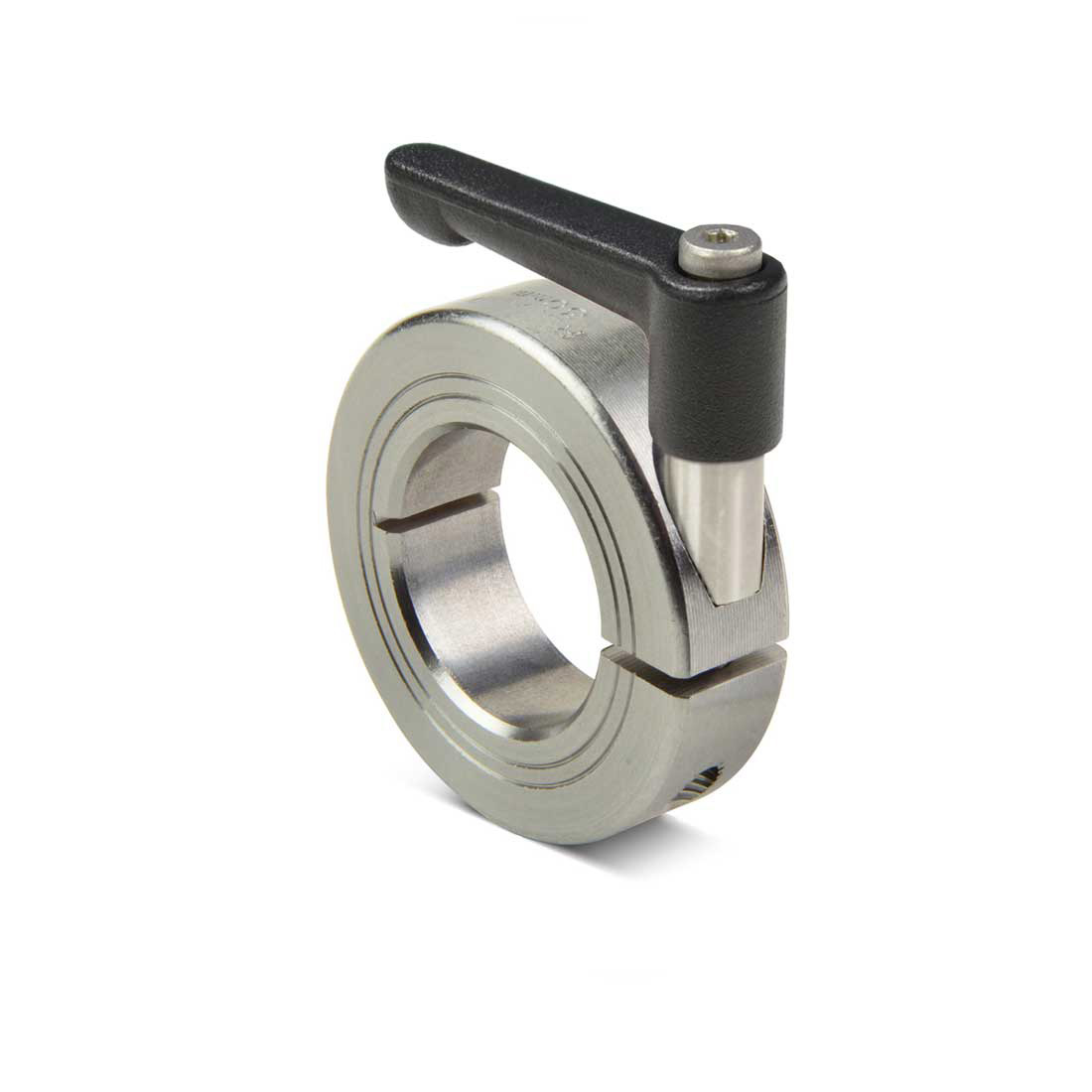 Ruland quick clamping shaft collar with clamping lever. The adjustable lever with built-in threaded stud can be used to quickly clamp, release and adjust shaft collars with no tools