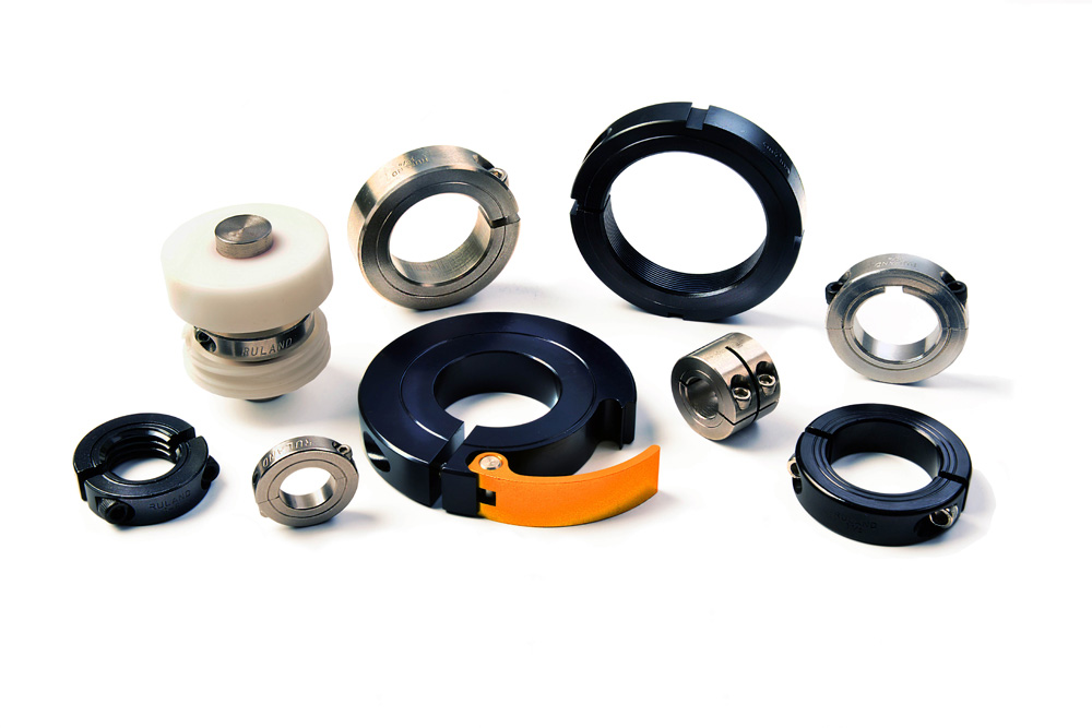 Selection of Ruland shaft collars. Ruland manufactures over 2,500 standard shaft collars to match the varied needs of machine tool manufacturers.