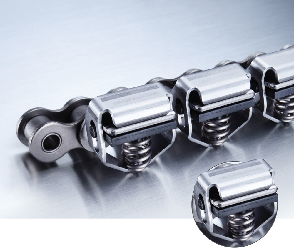 The latest additions to the iwis range of grip chains: Version E with grippers made of corrosion-resistant spring steel