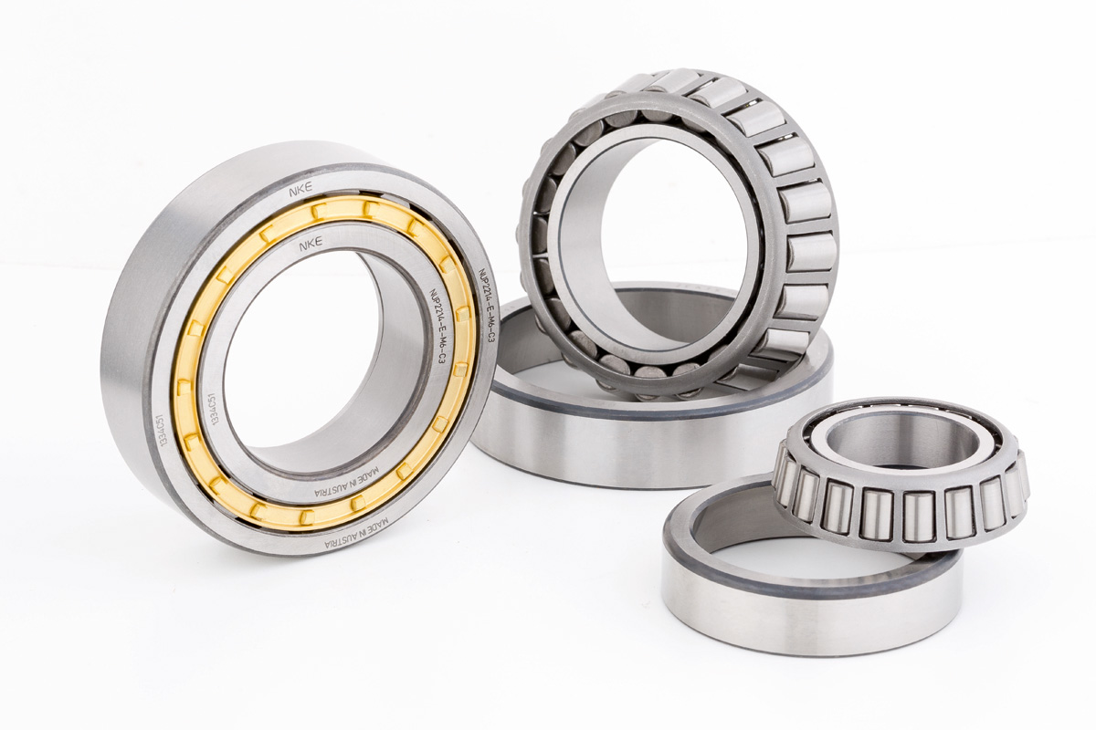 Austrian-made cylindrical roller bearing from NKE and two taper roller bearings from Fersa