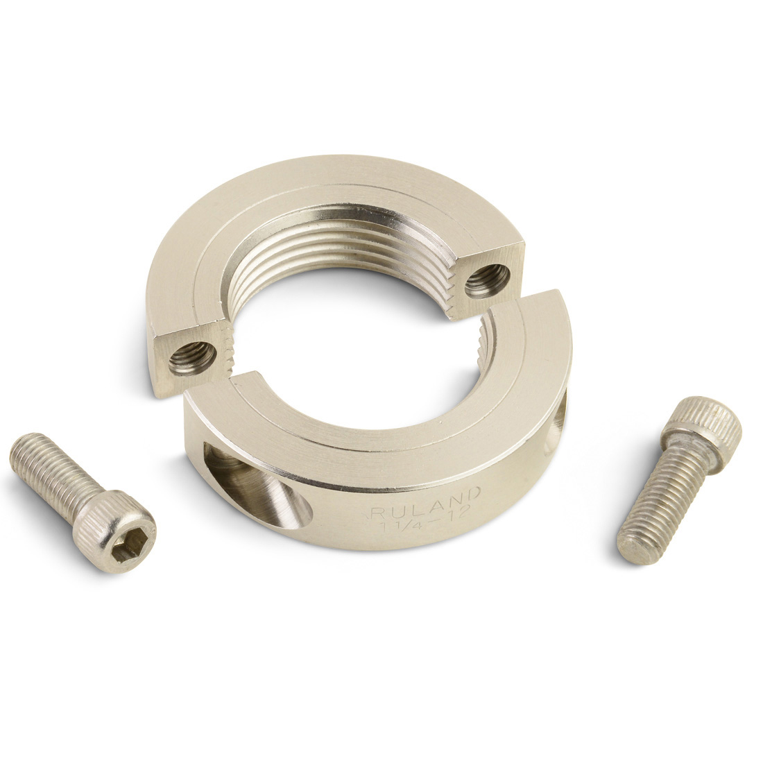 Left hand threaded shaft collars are available in one- and two-piece clamp style with inch and metric bore sizes available from 1/8 inch to 2-1/4 inches (4 mm to 30 mm)
